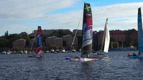 Γιοτ και sailboats διαγωνισμού στη Στοκχόλμη Σουηδία απόθεμα βίντεο