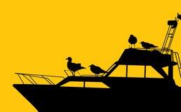 Γιοτ και seagulls απεικόνιση αποθεμάτων
