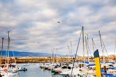 Γιοτ που σταθμεύουν στο λιμάνι στο ηλιοβασίλεμα, λιμενικό γιοτ Tenerife Στοκ Εικόνες
