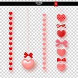 Γιρλάντα των κόκκινων καρδιών και των τόξων στο διαφανές υπόβαθρο επίσης corel σύρετε το διάνυσμα απεικόνισης Στοκ Φωτογραφίες