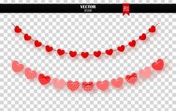 Γιρλάντα των κόκκινων καρδιών στο διαφανές υπόβαθρο επίσης corel σύρετε το διάνυσμα απεικόνισης Στοκ Φωτογραφία