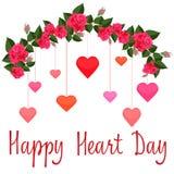 Γιρλάντα των κόκκινων τριαντάφυλλων με τις ζωηρόχρωμες καρδιές διανυσματική απεικόνιση