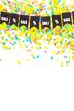 Γιρλάντα των μαύρων σημαιών Η πώληση και τα τοις εκατό SIG επιγραφής Στοκ Εικόνα