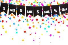 Γιρλάντα των μαύρων σημαιών Η πώληση και τα τοις εκατό SIG επιγραφής Στοκ φωτογραφίες με δικαίωμα ελεύθερης χρήσης