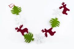 Γιρλάντα Χριστουγέννων στο άσπρο υπόβαθρο Στοκ φωτογραφίες με δικαίωμα ελεύθερης χρήσης