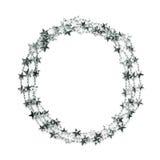 Γιρλάντα αστεριών γύρω από το πλαίσιο που απομονώνεται Στοκ εικόνα με δικαίωμα ελεύθερης χρήσης