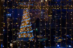 Γιρλάντα στο υπόβαθρο χριστουγεννιάτικων δέντρων Στοκ Εικόνες