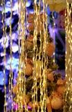 Γιρλάντα φω'των οδηγήσεων στα Χριστούγεννα κουρτινών και την ευτυχή νέα διακόσμηση ετών Στοκ Εικόνες