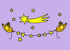 Γιρλάντα Χριστουγέννων με τα πουλιά Στοκ Εικόνες