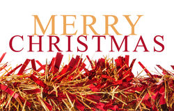 Γιρλάντα Χριστουγέννων στο άσπρο υπόβαθρο με το messa Χαρούμενα Χριστούγεννας Στοκ εικόνες με δικαίωμα ελεύθερης χρήσης