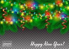 Γιρλάντες και κομφετί σε ένα χριστουγεννιάτικο δέντρο Πράσινο διαφανές υπόβαθρο κλάδων διανυσματική απεικόνιση