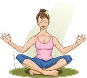 Γιόγκα άσκησης γυναικών σε μια ήρεμη και άνετη θέση ελεύθερη απεικόνιση δικαιώματος