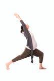 Γιόγκα άσκησης εγκύων γυναικών, γκρίζος περιστασιακός ιματισμός στοκ εικόνα με δικαίωμα ελεύθερης χρήσης