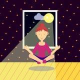 γιόγκα άσκησης κοριτσιών επίσης corel σύρετε το διάνυσμα απεικόνισης Στοκ Εικόνες