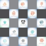 Γιόγκα, γιόγκα της Pet, SPA και διανυσματικό σύνολο λογότυπων wellness Στοκ Εικόνα