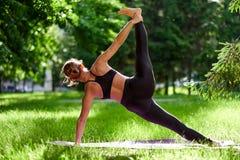 Γιόγκα Νέα περισυλλογή γιόγκας άσκησης γυναικών στη φύση στο πάρκο Έννοια τρόπου ζωής υγείας στοκ φωτογραφία με δικαίωμα ελεύθερης χρήσης