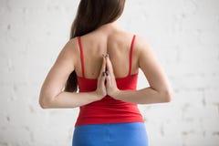 Γιόγκα στο εσωτερικό: Anjali Mudra πίσω από την πλάτη Στοκ Φωτογραφία