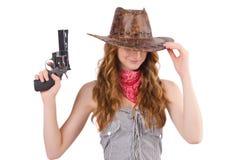 Γκάγκστερ γυναικών με το πυροβόλο όπλο Στοκ εικόνα με δικαίωμα ελεύθερης χρήσης