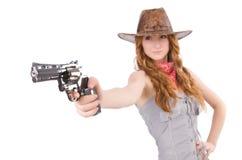 Γκάγκστερ γυναικών με το πυροβόλο όπλο Στοκ Φωτογραφία