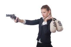 Γκάγκστερ γυναικών με το πυροβόλο όπλο στοκ εικόνες με δικαίωμα ελεύθερης χρήσης