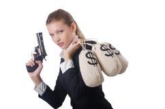 Γκάγκστερ γυναικών με το πυροβόλο όπλο στοκ εικόνες