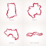 Γκάνα, Γκαμπόν, Γουινέα και η Γκάμπια - χάρτης περιλήψεων Στοκ Εικόνες