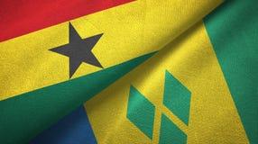 Γκάνα και Άγιος Βικέντιος και Γρεναδίνες δύο υφαντικό ύφασμα σημαιών διανυσματική απεικόνιση