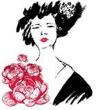 Γκέισα με τη διανυσματική απεικόνιση λουλουδιών κιμονό Στοκ Εικόνα