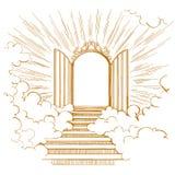 Γκέιτς του παραδείσου, είσοδος στη θεϊκή πόλη, που συναντιέται με το Θεό, σύμβολο του συρμένου χέρι διανύσματος χριστιανισμού διανυσματική απεικόνιση