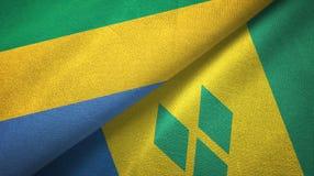 Γκαμπόν και Άγιος Βικέντιος και Γρεναδίνες δύο υφαντικό ύφασμα σημαιών διανυσματική απεικόνιση