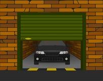 Γκαράζ τούβλου με τις τμηματικές πόρτες ανοικτές στην προοπτική με το αυτοκίνητο μέσα ελεύθερη απεικόνιση δικαιώματος