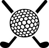 Γκολφ κλαμπ που διασχίζονται με τη σφαίρα διανυσματική απεικόνιση