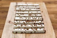 Γκοφρέτες μπισκότων στο λούστρο σε έναν ξύλινο πίνακα στοκ εικόνες με δικαίωμα ελεύθερης χρήσης