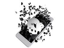 Γκολφ που εκρήγνυται από το smartphone Στοκ Φωτογραφίες