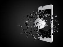 Γκολφ που εκρήγνυται από το smartphone Στοκ φωτογραφίες με δικαίωμα ελεύθερης χρήσης