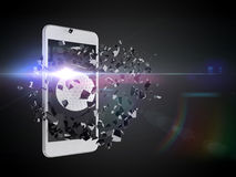 Γκολφ που εκρήγνυται από το smartphone Στοκ εικόνες με δικαίωμα ελεύθερης χρήσης