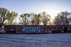 Γκράφιτι αυτοκινήτων τραίνων στοκ φωτογραφία με δικαίωμα ελεύθερης χρήσης