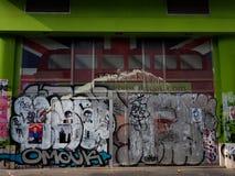 Γκράφιτι με το Union Jack στο υπόβαθρο Στοκ φωτογραφίες με δικαίωμα ελεύθερης χρήσης