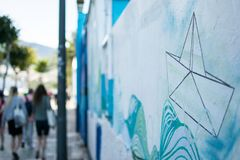 Γκράφιτι μιας βάρκας εγγράφου Στοκ φωτογραφίες με δικαίωμα ελεύθερης χρήσης