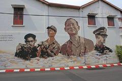 Γκράφιτι, μνήμη του ταϊλανδικού βασιλιά Στοκ φωτογραφία με δικαίωμα ελεύθερης χρήσης