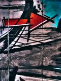 Γκράφιτι οδών στο δημόσιο αφηρημένο βέλος τοίχων που δείχνει τη σωστή έννοια Novi Sad Σερβία 08 14 2010 Στοκ Εικόνα
