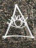 Γκράφιτι που δηλώνουν το να όλος-δει μάτι του αποκαλούμενου Illuminati Στοκ Εικόνες