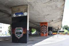 Γκράφιτι που δημιουργούνται ενδιαφέροντα από τους ανεμιστήρες της λέσχης ποδοσφαίρου Legia Βαρσοβία Στοκ Φωτογραφίες