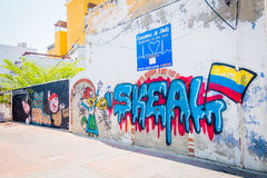 Γκράφιτι σε Santa Marta, καραϊβική πόλη, βόρεια Στοκ Φωτογραφία