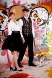 γκράφιτι σκυλιών ζευγών α Στοκ Εικόνες