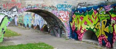 Γκράφιτι στην εγκαταλειμμένη αίθουσα πόλεων που χτίζει το Ταλίν, Εσθονία Στοκ φωτογραφία με δικαίωμα ελεύθερης χρήσης
