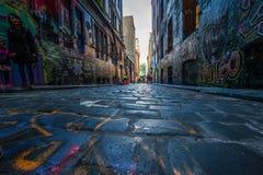 Γκράφιτι στην πάροδο της Μελβούρνης Hosier Στοκ Εικόνες