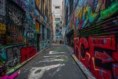 Γκράφιτι στην πάροδο της Μελβούρνης Hosier Στοκ Φωτογραφίες