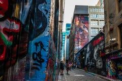 Γκράφιτι στην πάροδο της Μελβούρνης Hosier Στοκ Εικόνα