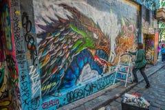 Γκράφιτι στην πάροδο της Μελβούρνης Hosier Στοκ εικόνα με δικαίωμα ελεύθερης χρήσης